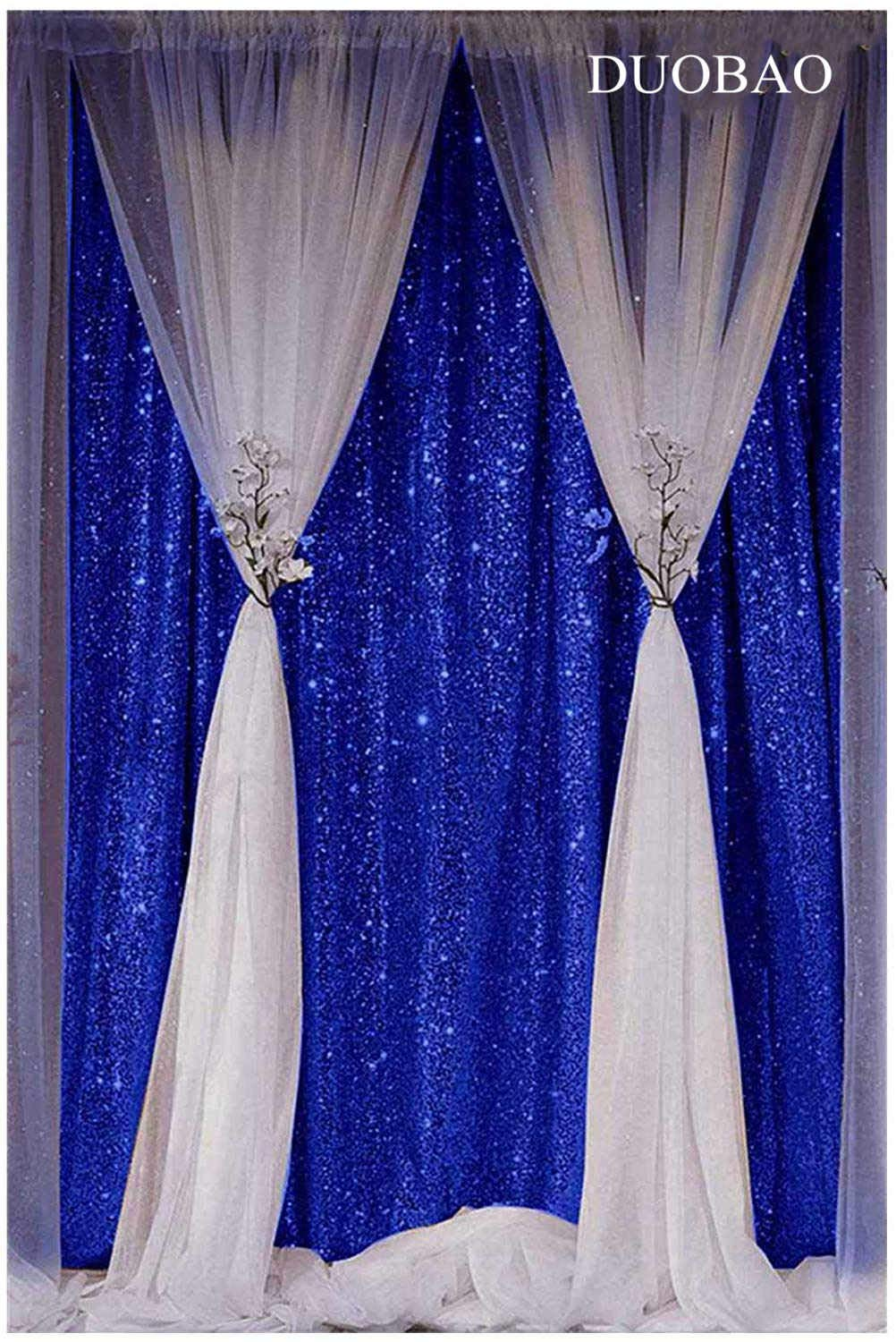 DUOBAO Sequin Backdrop Curtain 4FTx6FT Royal Blue Glitter Background Royal Blue Sequin Photo Backdrop Prom Party Decor~0613