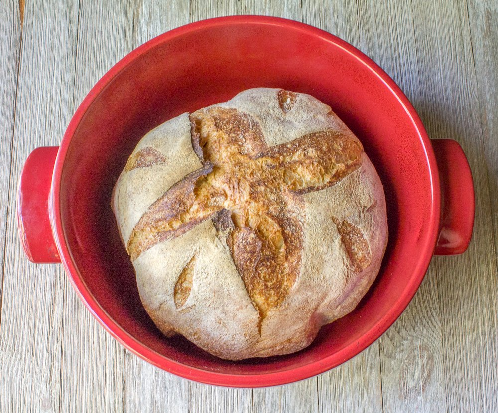 3-Piece Set: Emile Henry Ceramic Round Stewpot Dutch Oven Bread Pot, Burgundy, 8 inch Round Banneton Bread Rising Basket, Fitted Cotton Liner - Bundle by Bundle (Image #7)