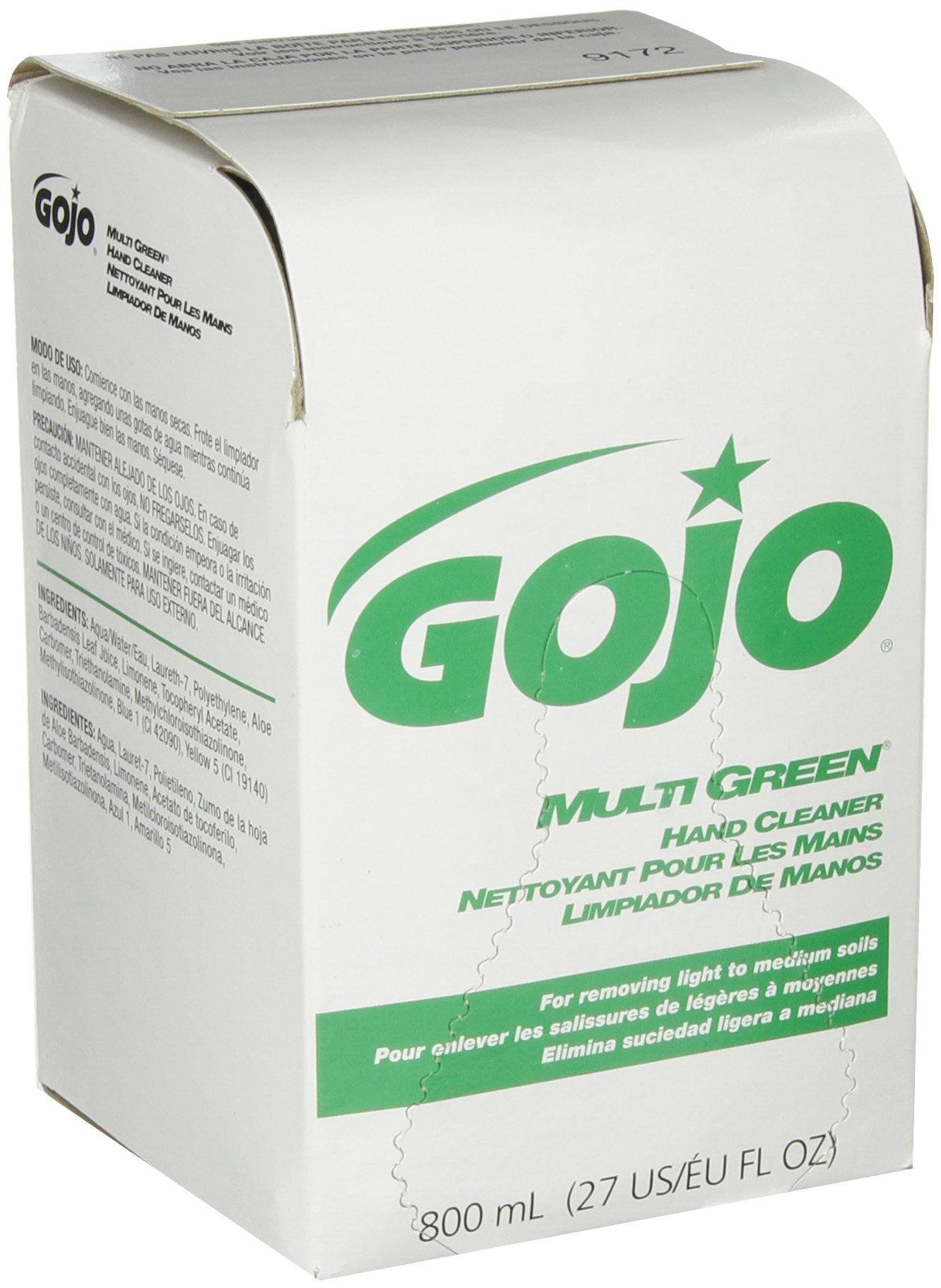 GOJO 800 Series MULTI GREEN Hand Cleaner, with Natural Pumice Scrubbers, 800 mL Hand Cleaner Refill for 800 Series Bag-in-Box Push-Style Dispenser (Pack of 12) - 9172-12