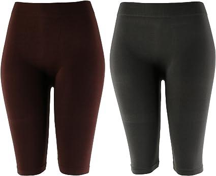 MOPAS Basic Solid Biker Knee Length Shorts Spandex Yoga Leggings