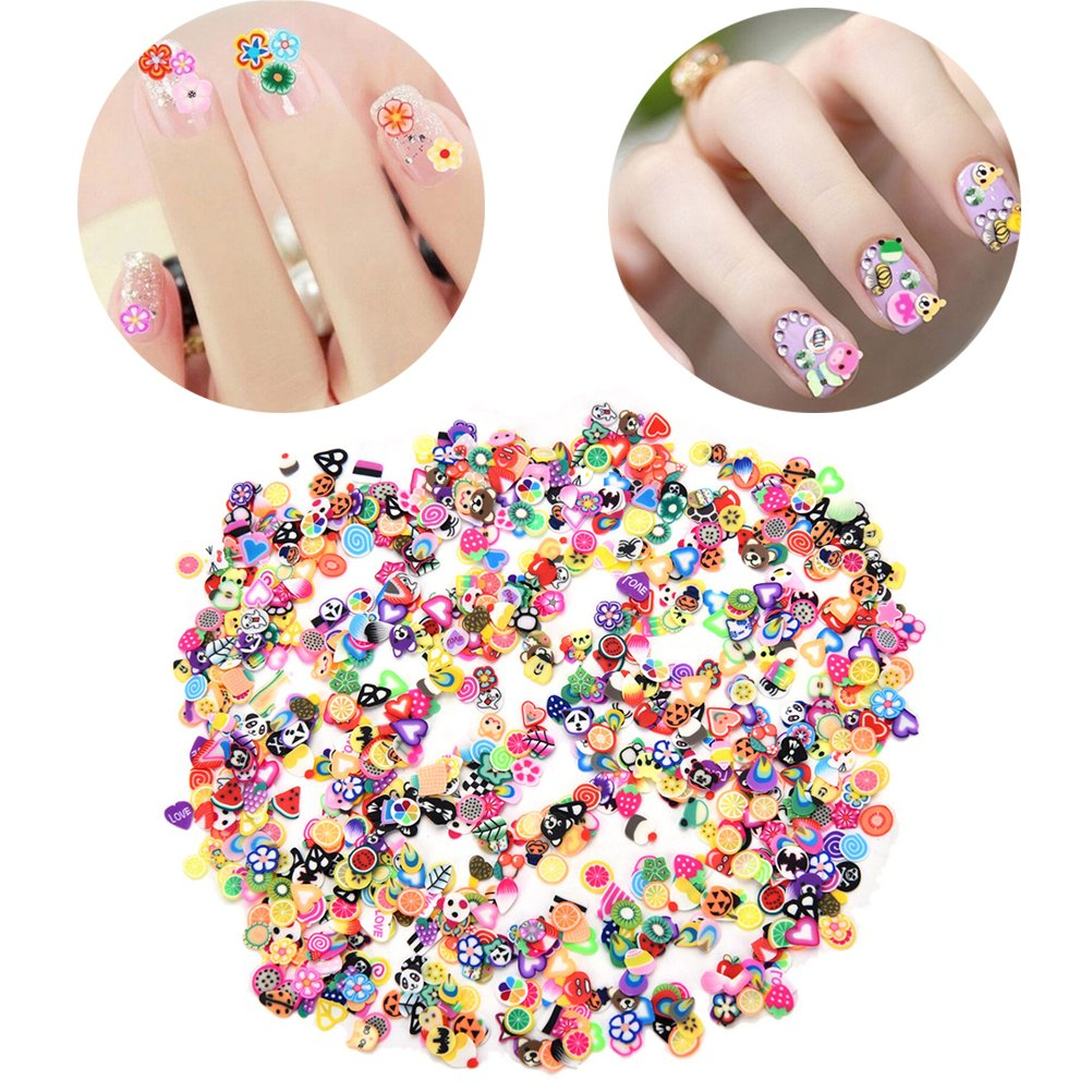 Buytra 2000 Pieces 3D Fruit Flower Animal Fimo Slices for Slime, DIY Crafts, Nail Art Decorations