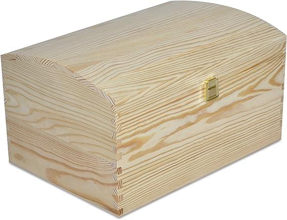 Creative Deco Grande Cofre Caja Madera | 34,5 x 25 x 19,2 cm | con Cierre de Metal y Tapa Redondeada | Decoración Decoupage Almacenaje de Documentos Objetos de Valor Juguetes: Amazon.es: Hogar