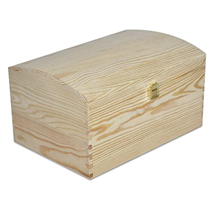 Creative Deco Grande Cofre Caja Madera con Curvo Tapa | 34,5 x 25 x