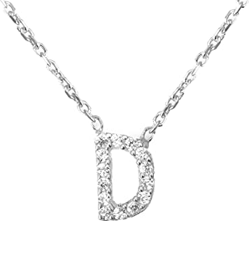 88bb5ff5fea Mini Crystal Initial Necklace Alphabet Letter (Letter D): Amazon.co.uk:  Jewellery