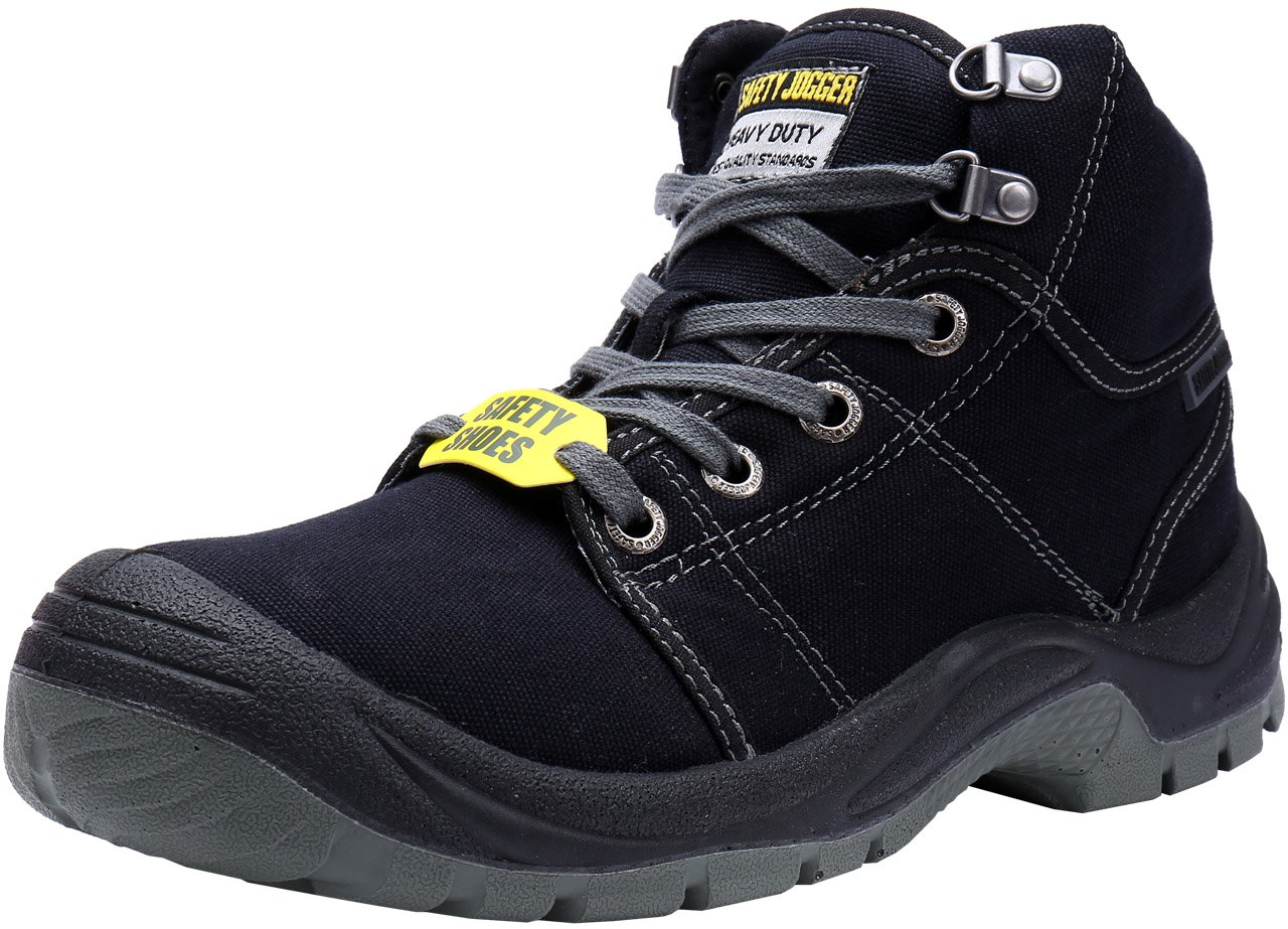 LARNMERN Safety Boots Men's Steel Toe Work Shoes S1P Level Industrial and Construction Boots (10, Black)