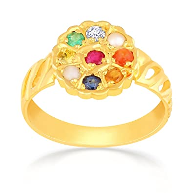 Buy Malabar Gold and Diamonds 22k 916 Yellow Gold Navaratna Ring