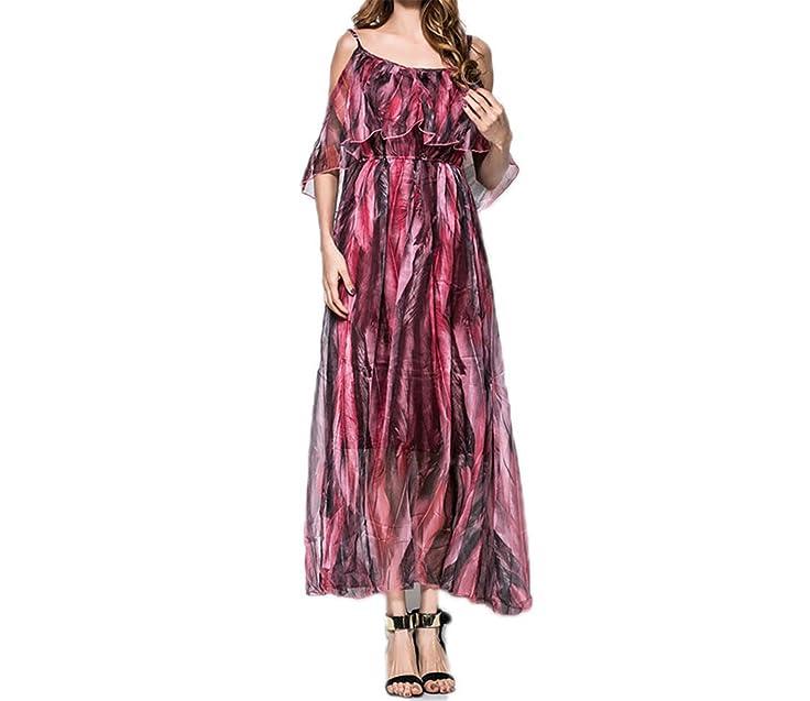 Amazon.com: Twilaisaac Fashion dress floral sexy v pescoço do vintage boemia sexy vestido de chiffon guaze dress plus size s-l mulheres praia dress: ...