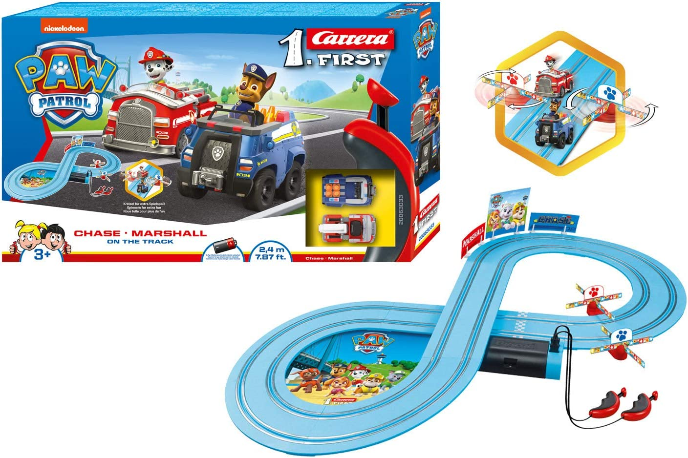 Nickelodeon Carrera First Paw Patrol Chase vs Marshall 1:50 Scale Racing Track
