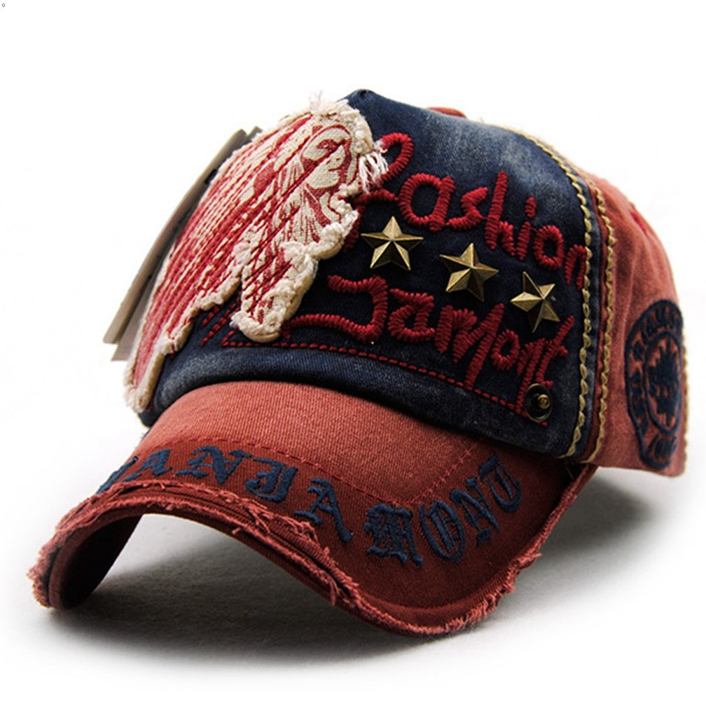 8a26787272694 GEEAUASSD Pure cotton Personality Vintage Embroidered Snapback Baseball Cap  Patch Visor Trucker Hat (Star