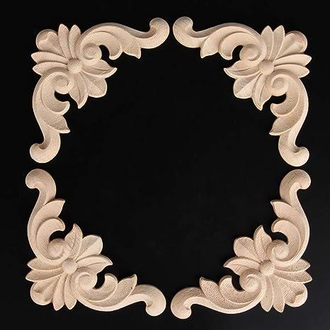 12x12cm//4.72x4.72 MUXSAM 4PCS Wood Applique Rubber Wood Carved Corner Onlay Appliques Furniture Onlay Door Wall Cabinet Frame Decor Flower Shape Unpainted Decoration
