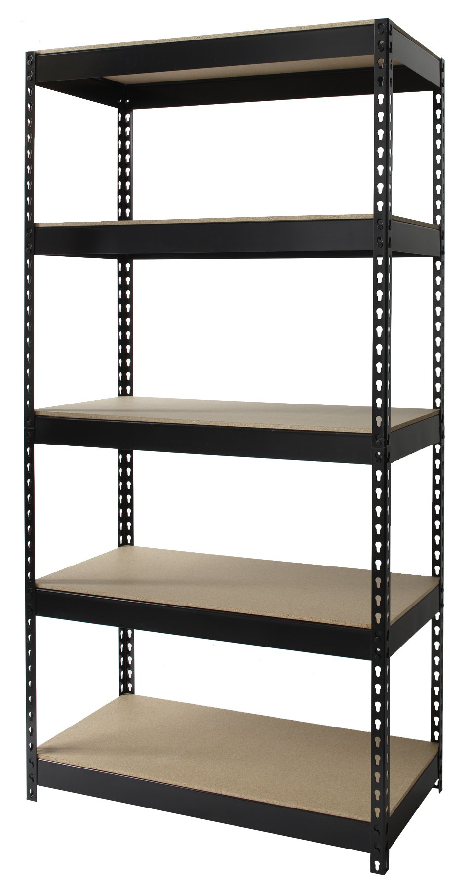 Office Dimensions Riveted Steel Shelving 5-Shelf Unit, 36'' W x 18'' D x 72'' H, Black by Office Dimensions (Image #1)