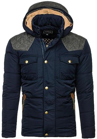 BOLF Herren Winterjacke Jacke mit gefütterte Kapuze Stehkragen Steppjacke  J.STYLE 3077 Dunkelblau L   90520db131