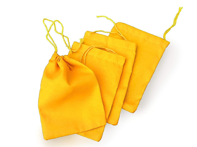 5 x 7インチ、イエローコットンMuslin Single巾着バッグ、プレミアム品質リサイクル可能ファブリック、選択Fro数量12、25、50、100、200 S イエロー B07DP7DHPT  200