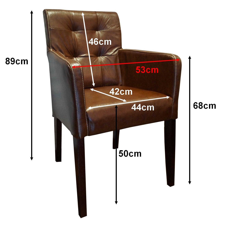 Echtleder Stühle David Arm Pik Brown 3000 Lederstühle Sessel mit ...