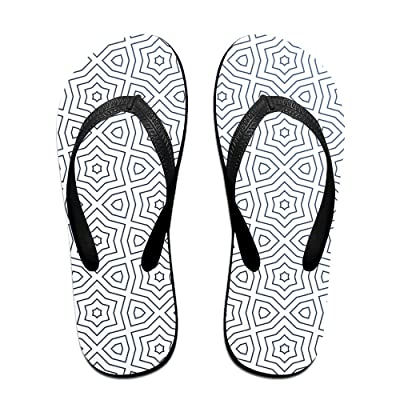 Abstract Pattern With Stars Flip Flop Sandals, Great For Beach Or Casual Wear