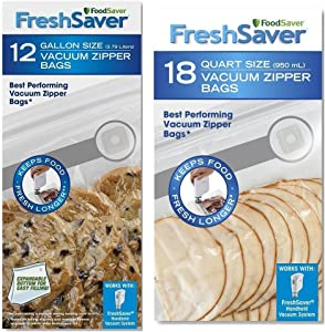 FoodSaver Freshsaver 18 Quart-sized and 12 Gallon-sized Vacuum Zipper Bags Bundle - BPA Free (2 Pack)