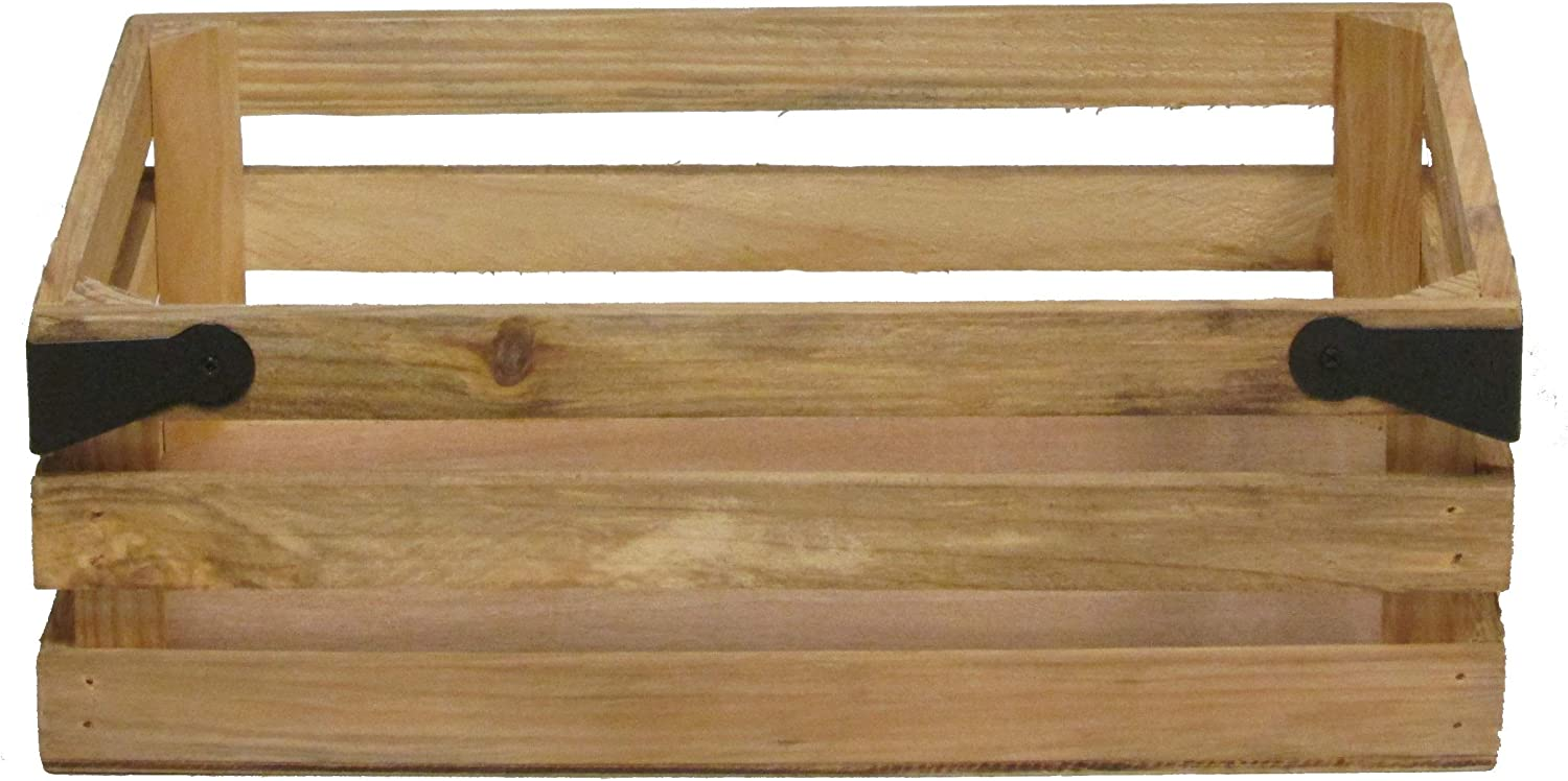 Admired By Nature ABN5E016-NTRL Natural Wood Crate with Metal Corner Design, 016-NTRL