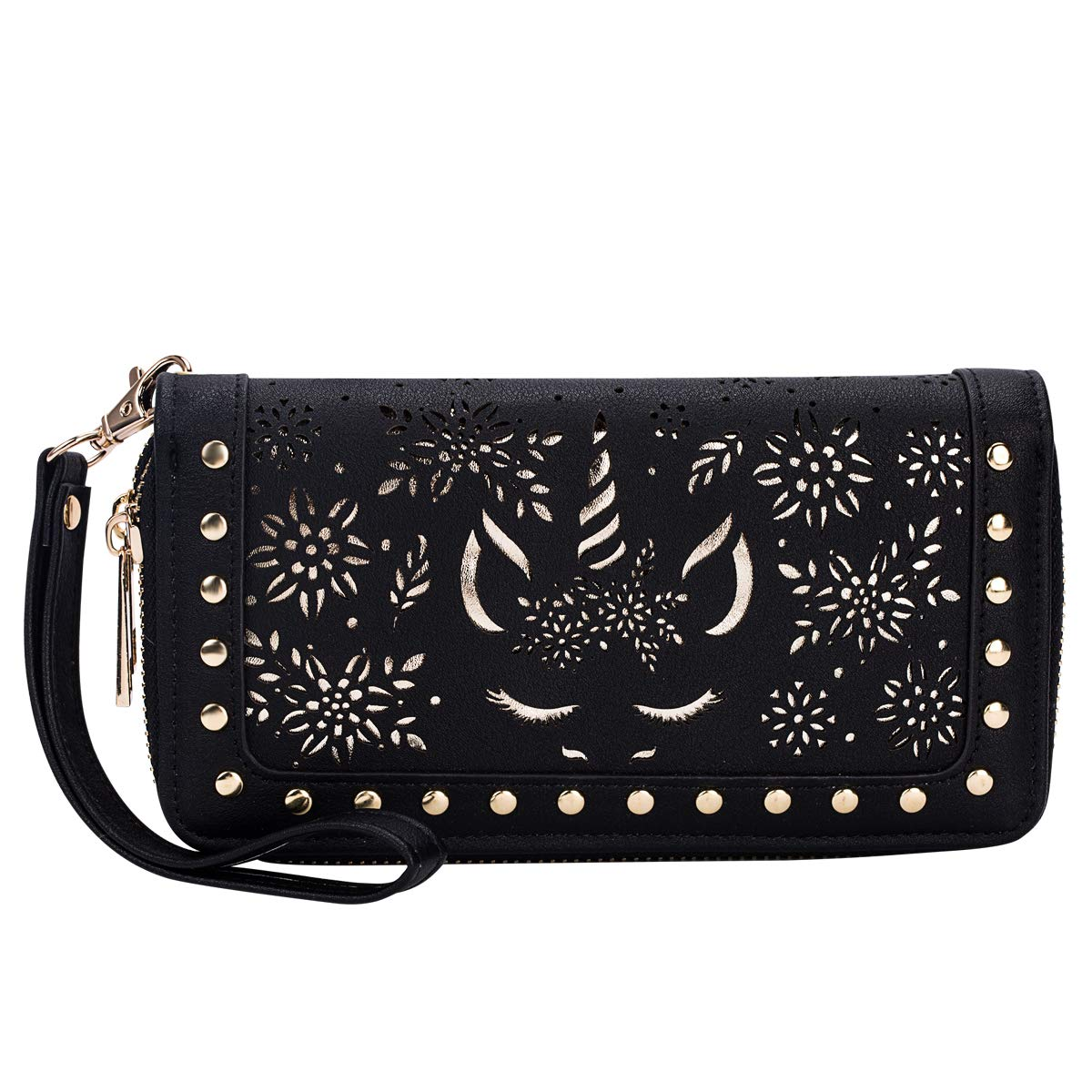 Heaye Unicorn Wallet Hollow Floral Wristlet Zip Around Pouch with Perforated Stud RFID Blocking by Heaye