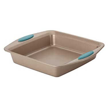 Rachael Ray 46681 Cucina Nonstick Bakeware Square Cake Pan, 9-Inch, Latte Brown with Agave Blue Handles
