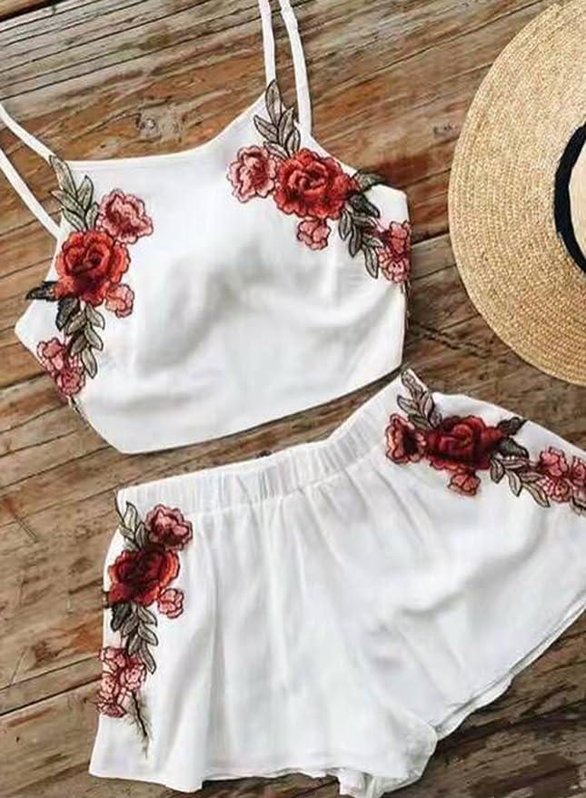 da090e1ec Azbro Mujer Conjunto Top Pantalones Cortos Bordado Floral