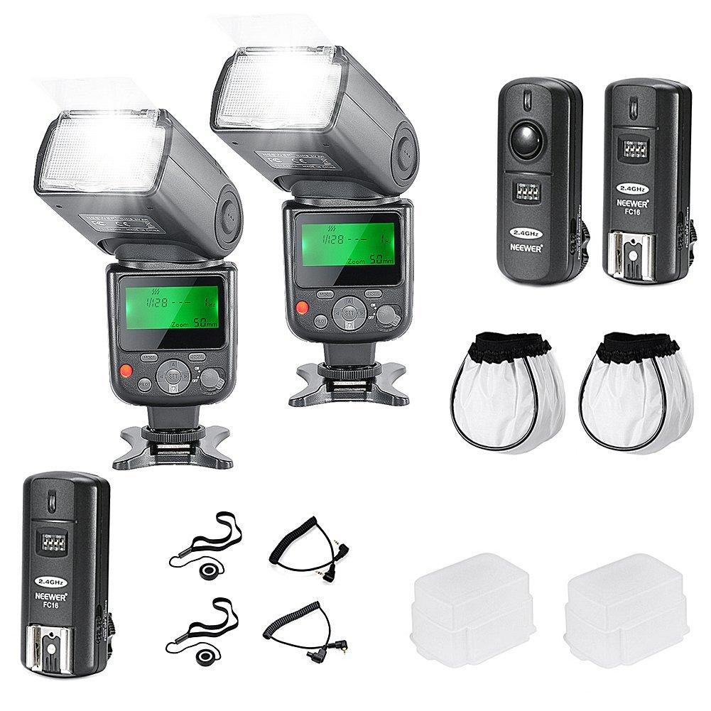 Neewer ®プロnw670 E -フォトフラッシュキットfor Canon Rebel t5i t4i t3i t3 t2i t1i XSI XTI sl1 , EOS 700d 650d 600d 1100d 550d 500d 450d 400d 100d 300d 60d 70dデジタル一眼レフカメラ、Canon EOS Mコンパクトカメラ – Includes : 2 Neewer auto-focus Flash with LCD画面+ 2.4 GHzワイヤレストリガー( 1送信機、2レシーバ) + 2ケーブル( c1-cord + c3-cordケーブル+ 2ハード&ソフトフラッシュディフューザー+ 2レンズキャップホルダー   B00O9S2W00