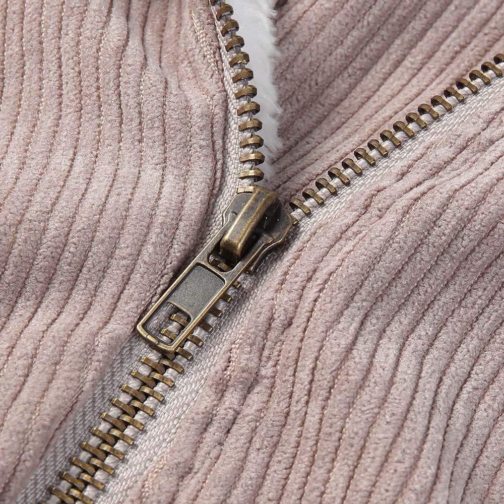 AOJIAN Women Jacket Long Sleeve Outerwear Zipper Corduroy Notch Collar Coat