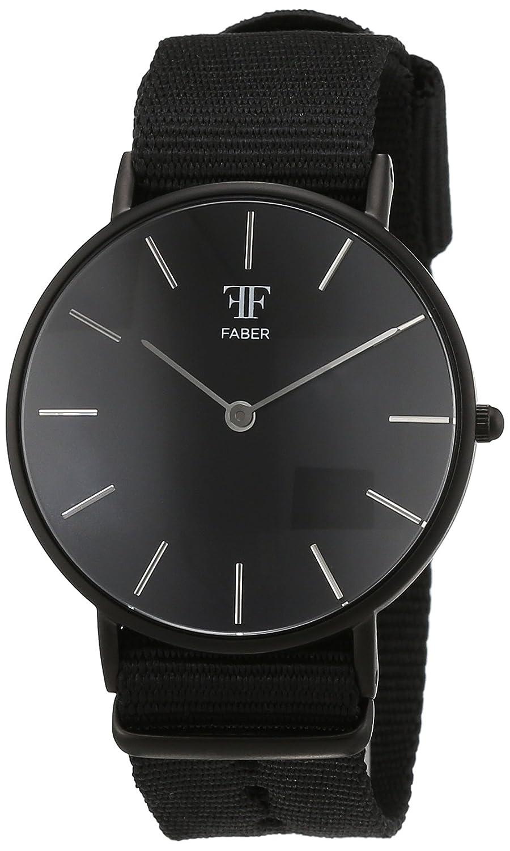 Faber Time Unisex-Armbanduhr Analog Quarz Nylon F500BK