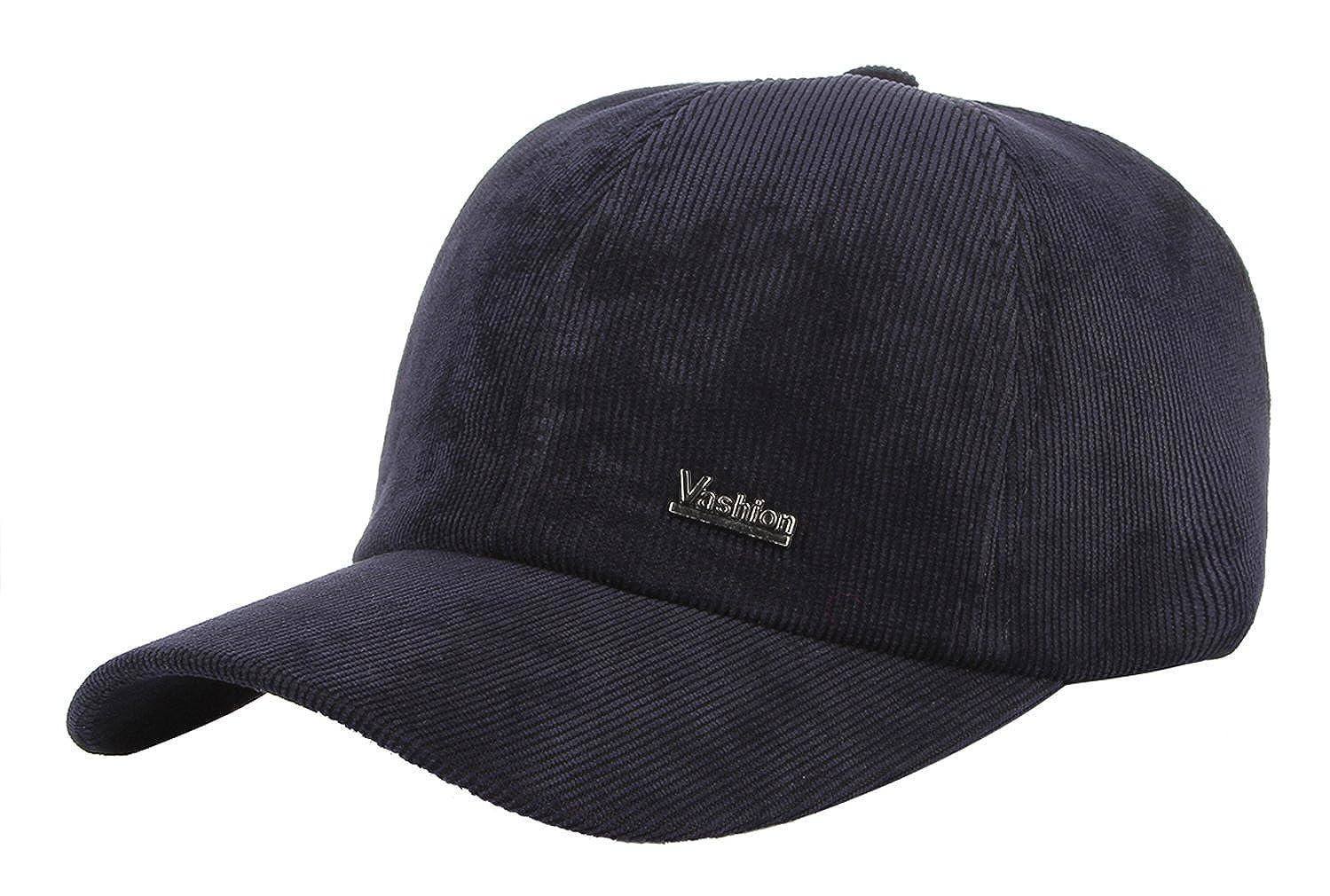 La Vogue-Cappello Vellutto Uomo Visiera Paraorecchie Berretto Baseball Sportivo Outdoor Regolabile