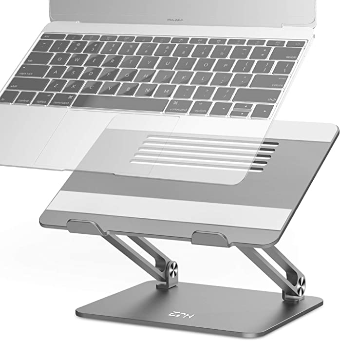 Adjustable Laptop Stand, EPN Laptop Riser with Heat-Vent to Elevate Laptop, Aluminum Notebook Holder Compatible for MacBook Pro/Air, Surface Laptop, Dell, HP, Lenovo & Other 11-17.3 Inch Space Gray