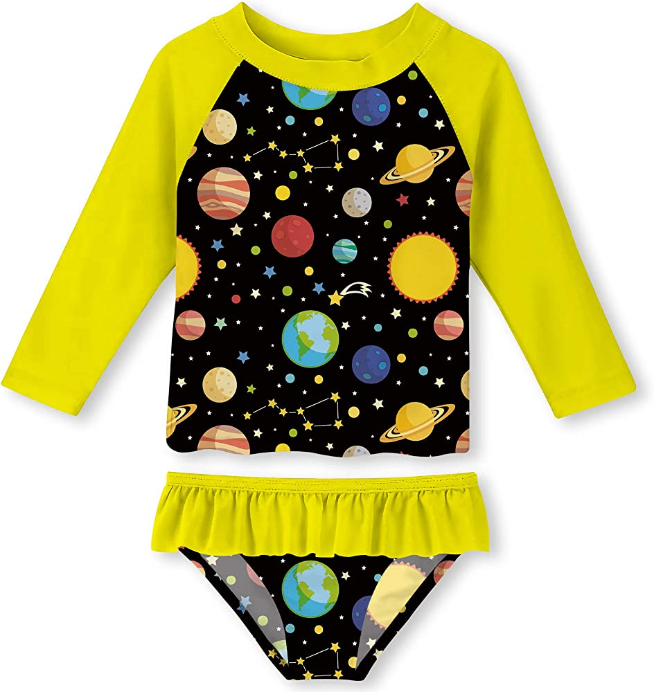 Little Girls Long-Sleeve Swimsuit Sets Rash Guard Swimwear Kids Swimming Suit Floral Bathing Suit 3-8T