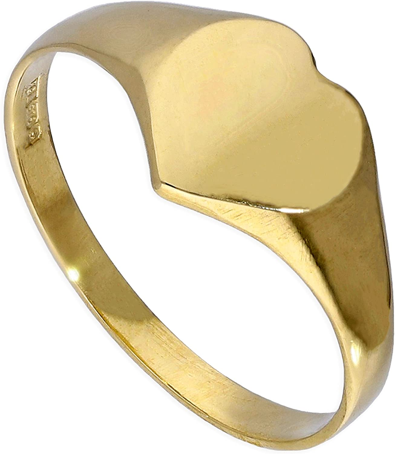 M 9ct Gold Engravable Teenage Heart Signet Ring Size F