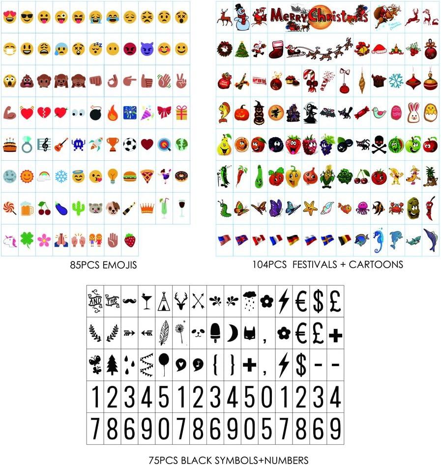 Sanyan 265 Letras de Color Negro, Números, Emoji y Símbolos para su Uso con A4 A3 A5 Cajas de luz cinemáticas, plástico,: Amazon.es: Hogar