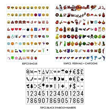 Sanyan 265 letras de color negro, números, emoji y símbolos para su uso con A4 A3 A5 cajas de luz cinemáticas, plástico,