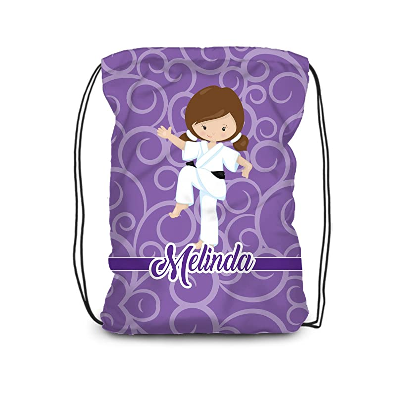 Black Karate Boy Personalized Name Bag Karate Drawstring Backpack