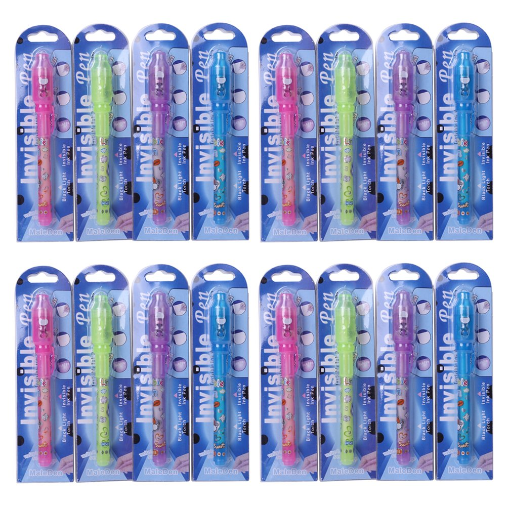 Invisible Ink Pen MALEDEN Spy Pen with UV Light Magic Marker Kid Pens for Secret Message and Party Goody Bag Filler Pack of 16