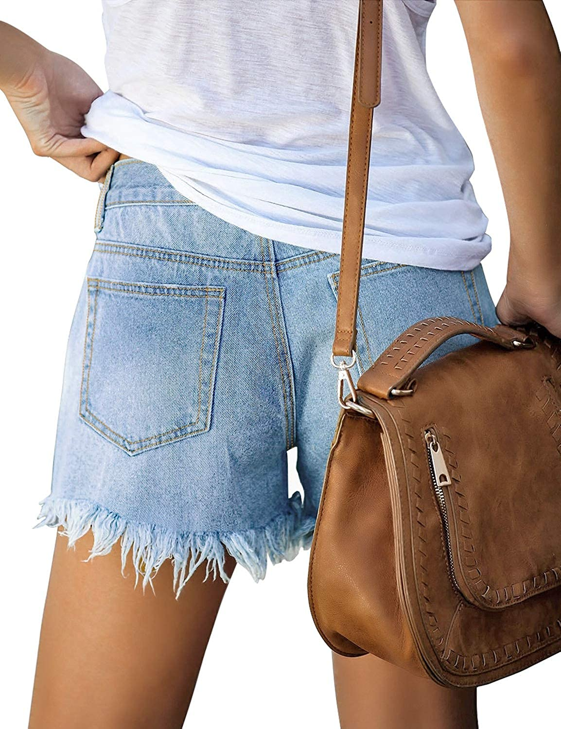 Ftaisyg Womens Stretchy Denim Shorts Hotpants in Washed Distressed Jeans Boyfriend Skinny Ripped