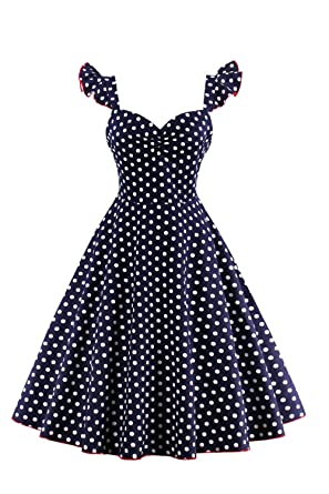 Womens Vintage 50s Polka Dot Swing Rockabilly Retro Party Cocktail Dress Darkblue XS
