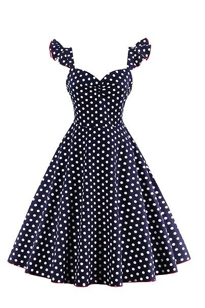 Vestido de mujer Vintage años 50 lunares Swing Rockabilly Retro fiesta cóctel: Amazon.es: Ropa y accesorios