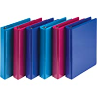 "Samsill Fashion Mini 3 Ring Binders 1 Inch / 7.5"" x 9.1"" Fits 8.5"" x 5.5"" Paper and Sheet Protectors/Cute Binders Assorted Colors/Dragon Fruit, Blueberry, Blue Coconut / 6 Pack Mini Binders"