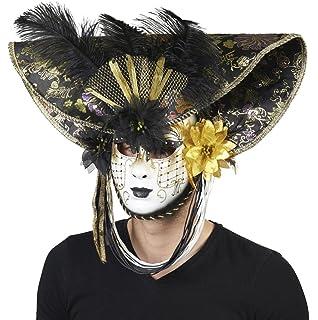 7857af2c7adbd EL CARNAVAL Máscara Veneciana Dorada con Sombrero Negro  Amazon.es ...