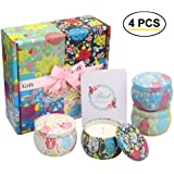 Scents Candles Gift Set, 100% Soy Wax Tin Candle 4.4/4 OZ 25 Hours Burn Time Portable Aromatherapy Set for Women Bath…