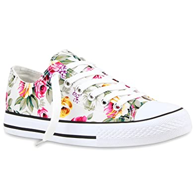 38fd7b0d99 Stiefelparadies Damen Schuhe 118913 Sneakers Weiss Blumen 40 Flandell