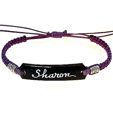 Bracelet tressé personnalisé avec prénom. Bracelet femme extensible coco et  macramé violet