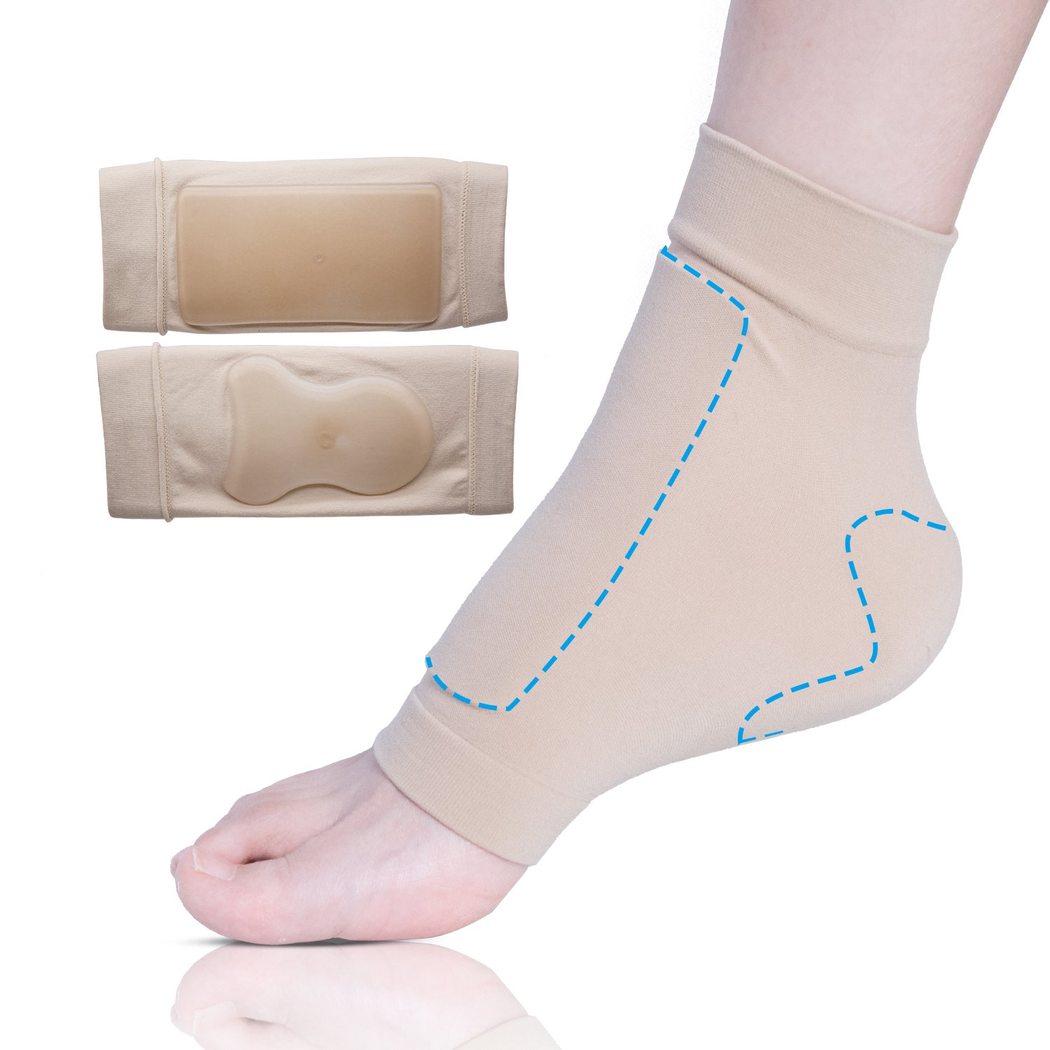 Sumifun Achilles Heel Pad Gel Sleeve, Cushioning Protection Socks with Moisturising Mineral Grade Oil
