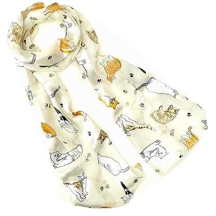 Pañuelo para mujer con moderno diseño de gatos, color crema
