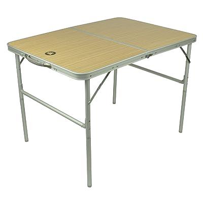 10T Portable Double Table de camping pliable Argent/Bois 98 x 70 x 70 cm