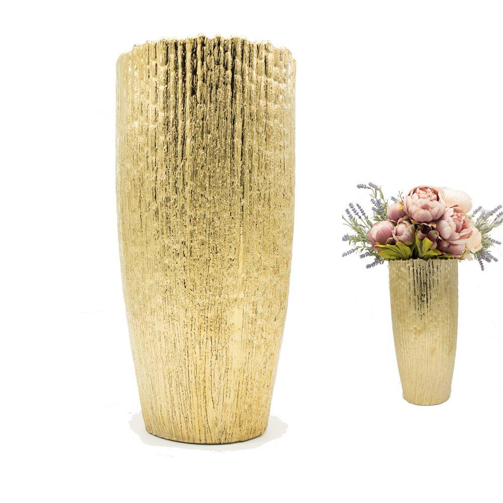 Purzest 13.8 Decorative Ceramic Tall Vase, Modern Elegant Floor Flower Vase for Home Decor Living Room and Office,Gold