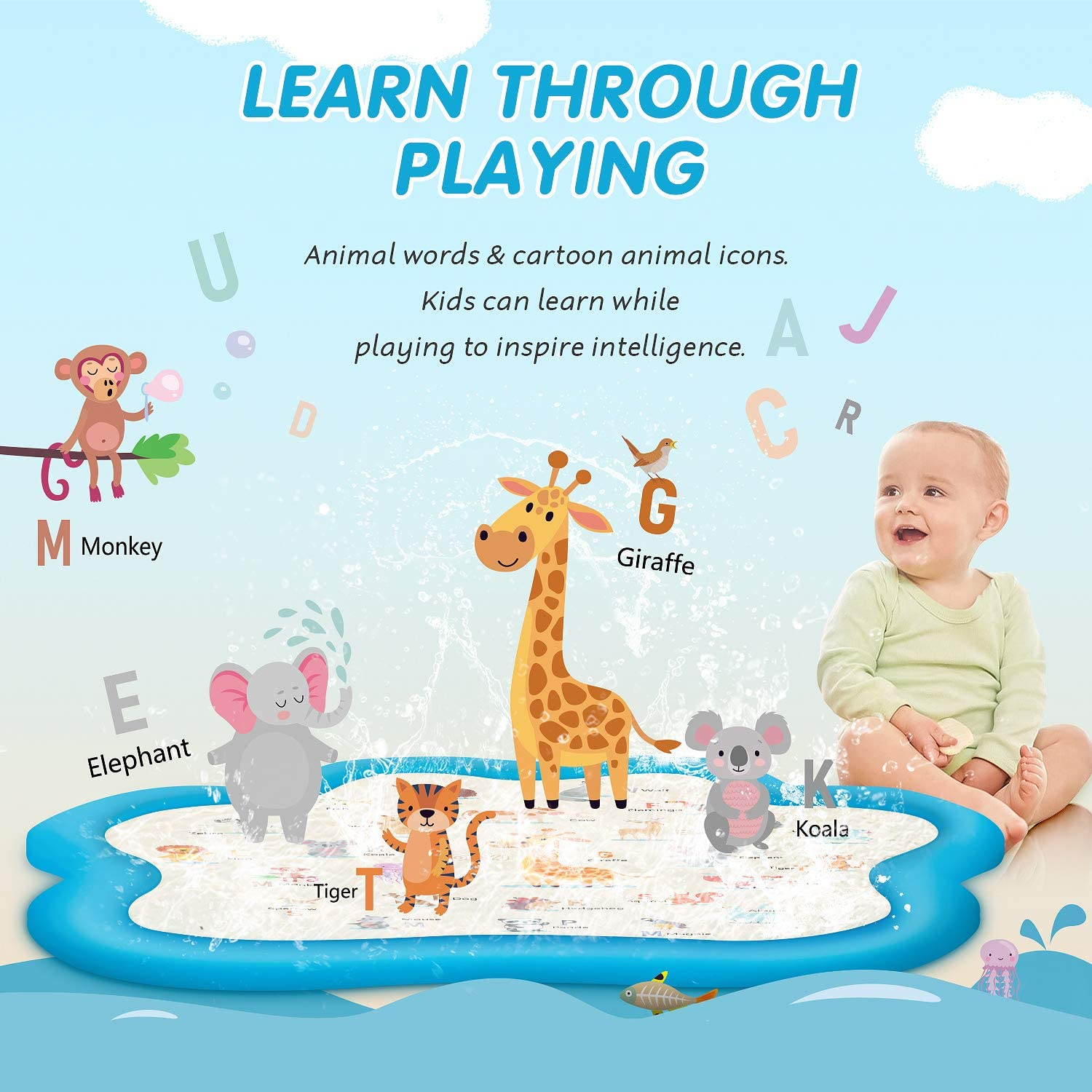 Inflatable Water Toys for 1-12 Year Old Boys Girls Children JONYJ Splash Pad 77 Sprinkler for Kids and Toddlers Outdoor Wading Pool Baby Splash Play Mat for Learning