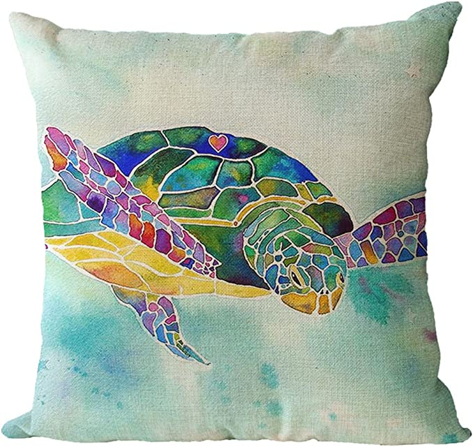 7COLORROOM 2pack Sea Turtle Pillow Cases Ocean Theme Home Decorative Throw Pillo