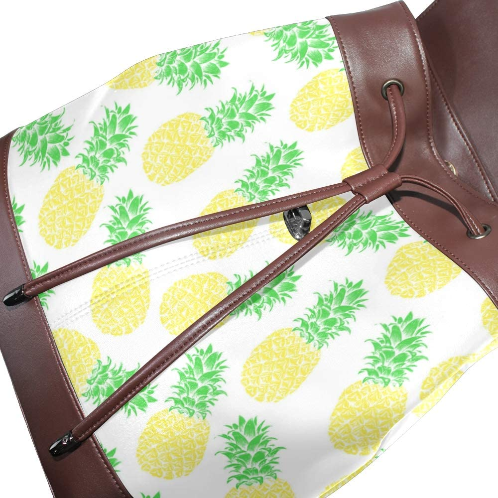 Leather Pineapple Pattern Backpack Daypack Bag Women